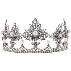 Antike Viktorianische Tiara mit Zertifizierten Natürlichen Perlen und Diamant, Provenance