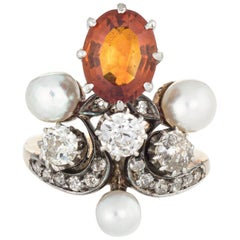 Antique Victorian Tiara Ring Citrine Diamond Pearl 14 Karat Yellow Gold Silver