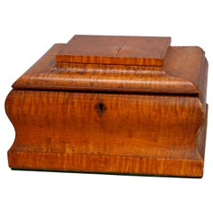 Antique Victorian Tiger Maple Ogee Gentleman's Dresser Box, circa 1890