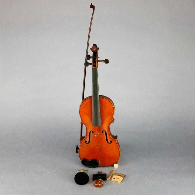 Antique Victorian tiger maple violin and wood case with mother of pearl inlaid bow, Salvatore Durro, Antonio Stradivarius, label as photographed, string instrument, 19th century  Measure: 22