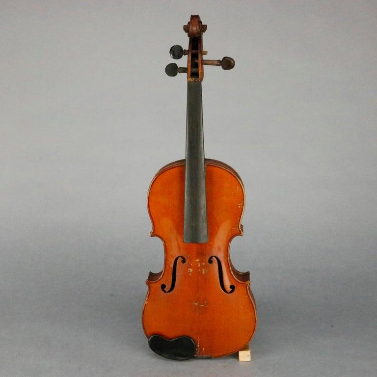 European Antique Victorian Tiger Maple Violin and Case, Salvatore Durro, 19th Century For Sale