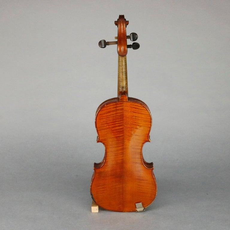 Carved Antique Victorian Tiger Maple Violin and Case, Salvatore Durro, 19th Century For Sale