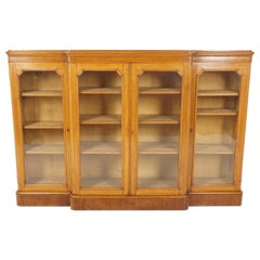 Antique Victorian Tiger Oak Breakfront Display Cabinet, Scotland 1880, B2551