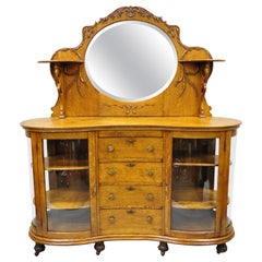 Antique Victorian Tiger Oak Carved Paw Feet Sideboard Buffet China Cabinet Base
