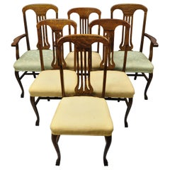 Antique Victorian Tiger Oak Carved Paw Foot Slat Back Dining Chairs, Set of 6