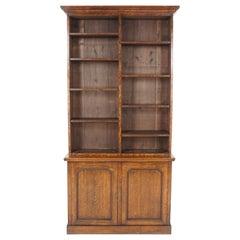 Antique Victorian Tiger Oak Open Bookcase Display Cabinet, Scotland 1890, B2340