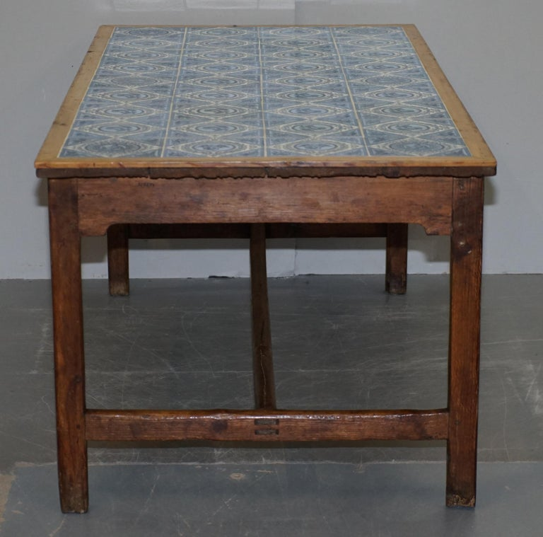 Antique Victorian Tiled Refectory Dining Table Stunning English Country House For Sale 5