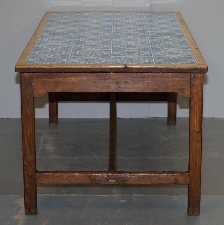 Antique Victorian Tiled Refectory Dining Table Stunning English Country House For Sale 11