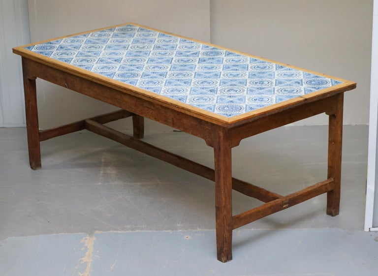 High Victorian Antique Victorian Tiled Refectory Dining Table Stunning English Country House For Sale