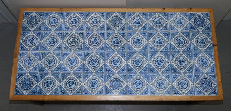 Hand-Crafted Antique Victorian Tiled Refectory Dining Table Stunning English Country House For Sale