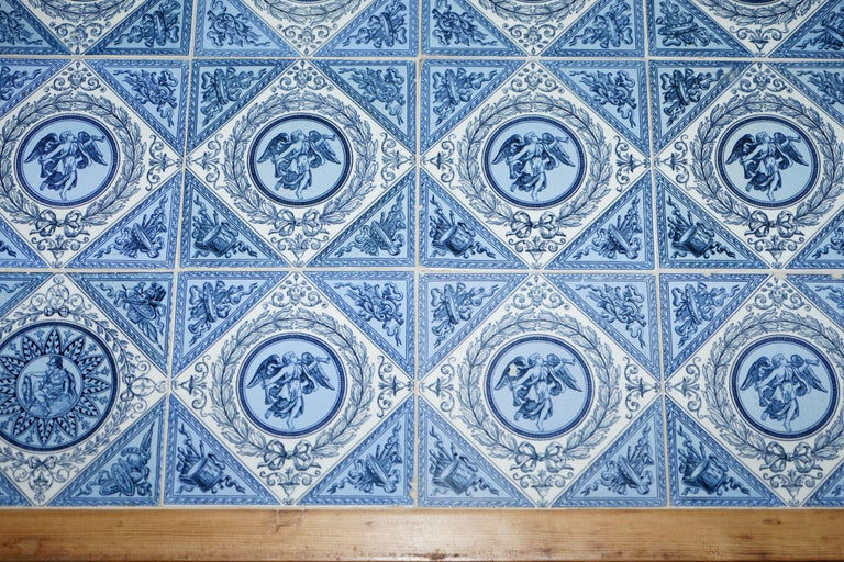 Pine Antique Victorian Tiled Refectory Dining Table Stunning English Country House For Sale