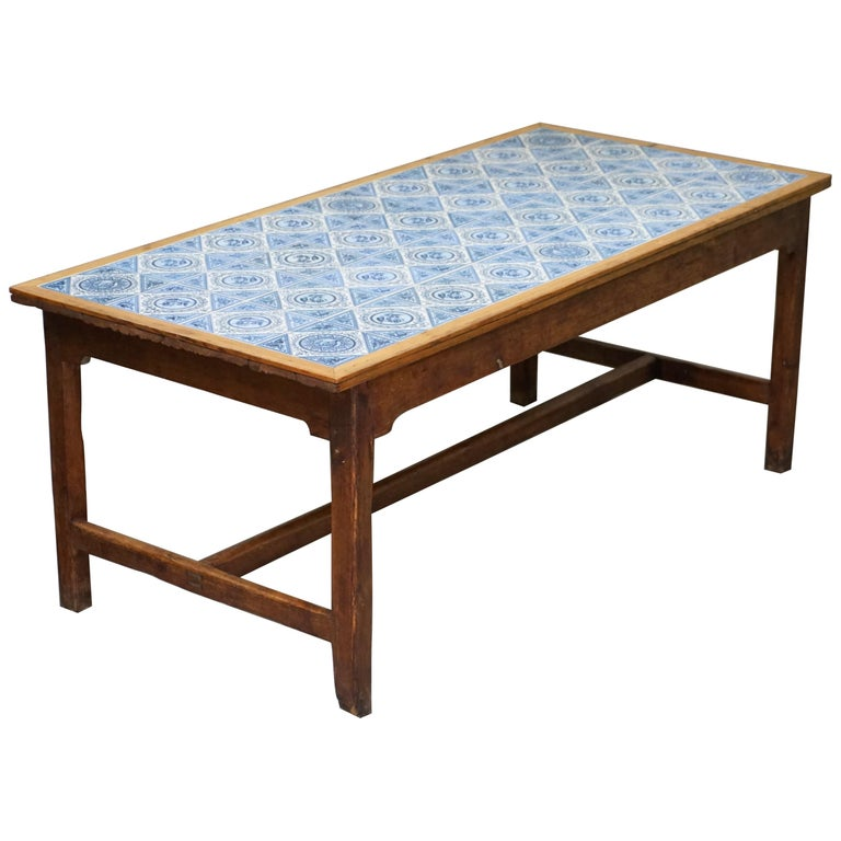 Antique Victorian Tiled Refectory Dining Table Stunning English Country House For Sale