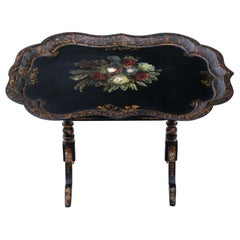 Antique Victorian Tilt-Top Decorated Black Lacquer Tray Top Table Coffee