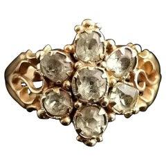 Antique Victorian Topaz Cluster Ring, 18 Karat Yellow Gold, Forget Me Not Flower
