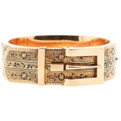 Antique Victorian Tracery Enamel 14 Karat Gold Buckle Bracelet