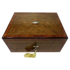 Antique Victorian Turnbridge Ware Burl Walnut Traveling Wooden Writing Slope Box