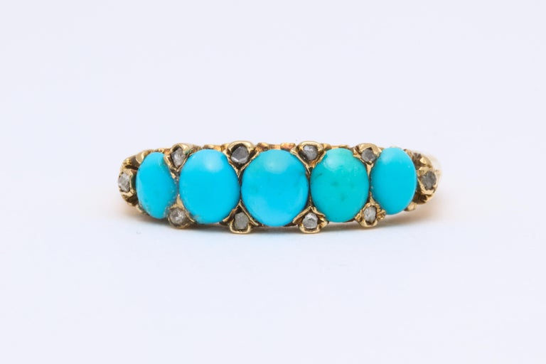 Oval Cut Antique Victorian Turquoise and Diamond Ring For Sale