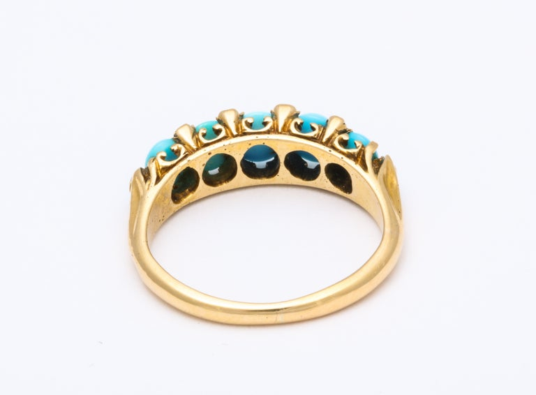 Women's Antique Victorian Turquoise and Diamond Ring For Sale
