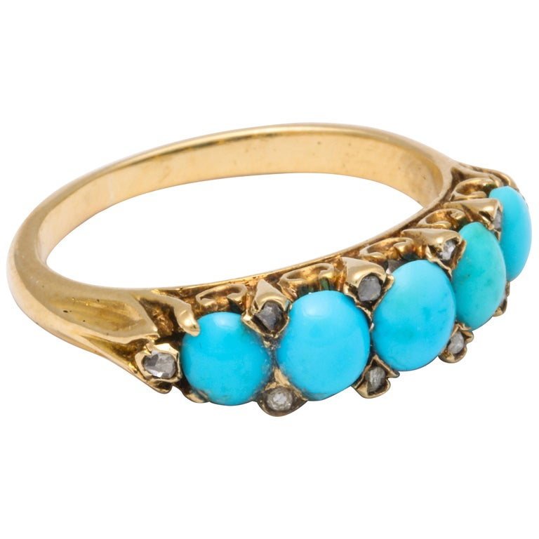 Antique Victorian Turquoise and Diamond Ring For Sale