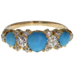 Antique Victorian Turquoise Diamond Carved Gallery Set 18 Carat Gold Band Ring