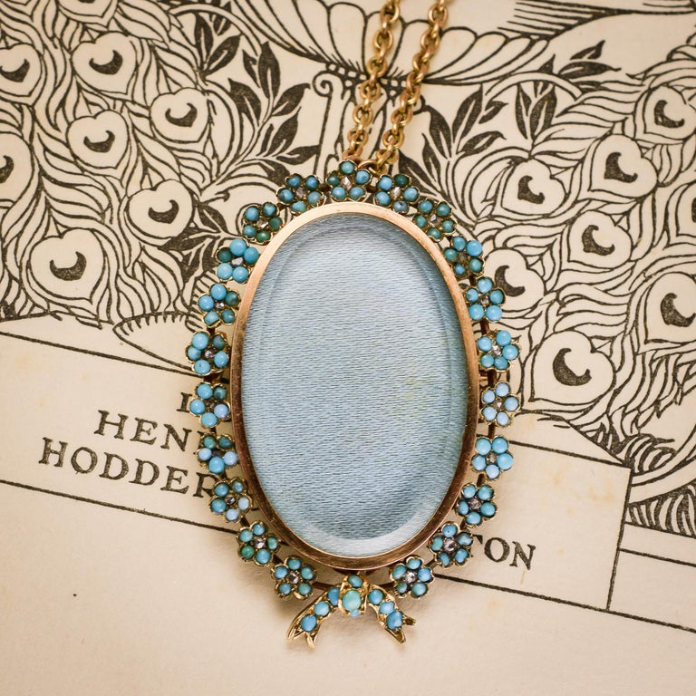 Women's Antique Victorian Turquoise Diamond Forget-Me-Not Locket For Sale