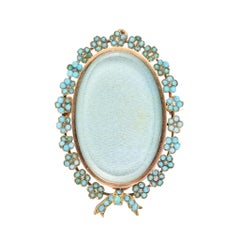 Antique Victorian Turquoise Diamond Forget-Me-Not Locket