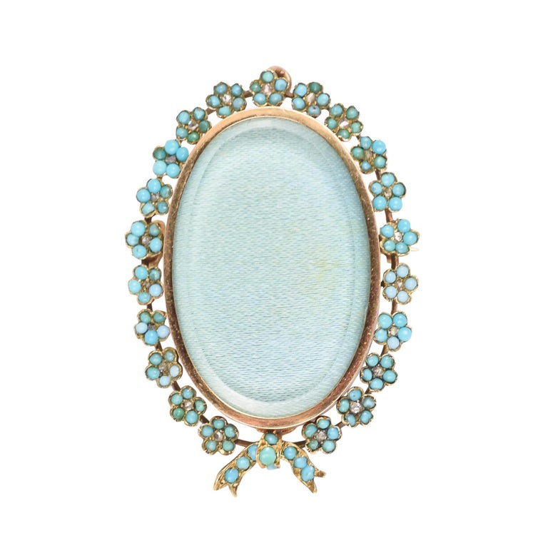 Antique Victorian Turquoise Diamond Forget-Me-Not Locket For Sale