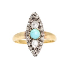 Antique Victorian Turquoise Diamond Marquise Ring