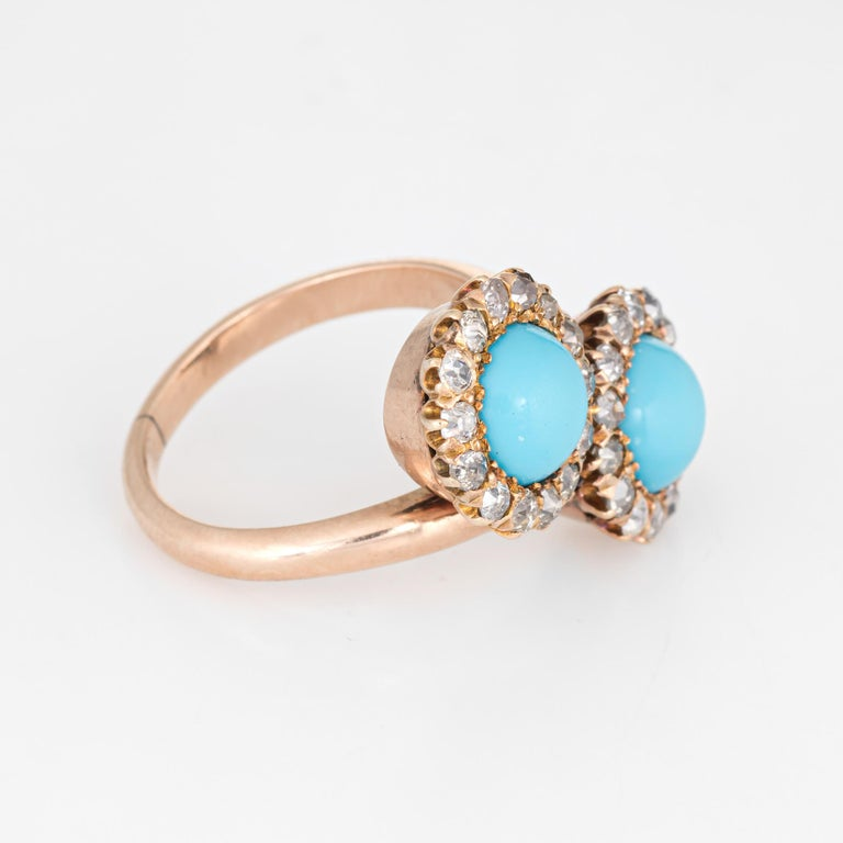 Old Mine Cut Antique Victorian Turquoise Diamond Ring Double Halo 14 Karat Gold Jewelry For Sale