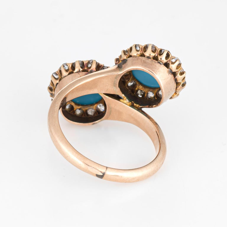 Women's Antique Victorian Turquoise Diamond Ring Double Halo 14 Karat Gold Jewelry For Sale