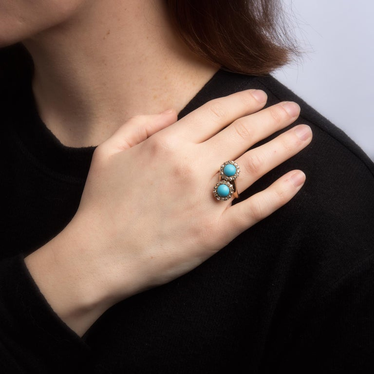 Antique Victorian Turquoise Diamond Ring Double Halo 14 Karat Gold Jewelry For Sale 1