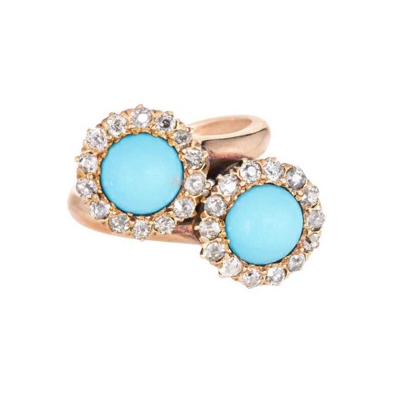 Antique Victorian Turquoise Diamond Ring Double Halo 14 Karat Gold Jewelry For Sale