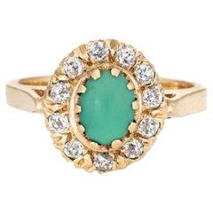 Antique Victorian Turquoise Diamond Ring Vintage 14 Karat Gold Mine Cut Halo