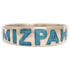 Antique Victorian Turquoise Enamel MIZPAH Ring