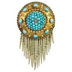 Antique Victorian Turquoise Fringe Brooch Locket 18 Carat Gold, circa 1880