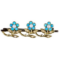 Antique Victorian Turquoise Pearl Brooch 18 Carat Gold, circa 1880