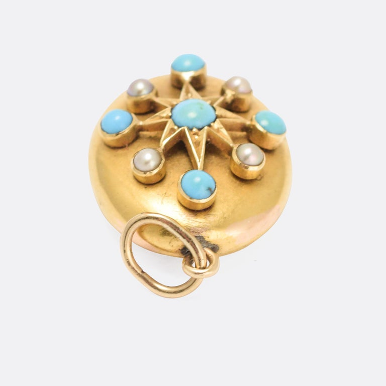 Late Victorian Antique Victorian Turquoise Pearl Gold Star Pendant For Sale