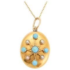 Antique Victorian Turquoise Pearl Gold Star Pendant