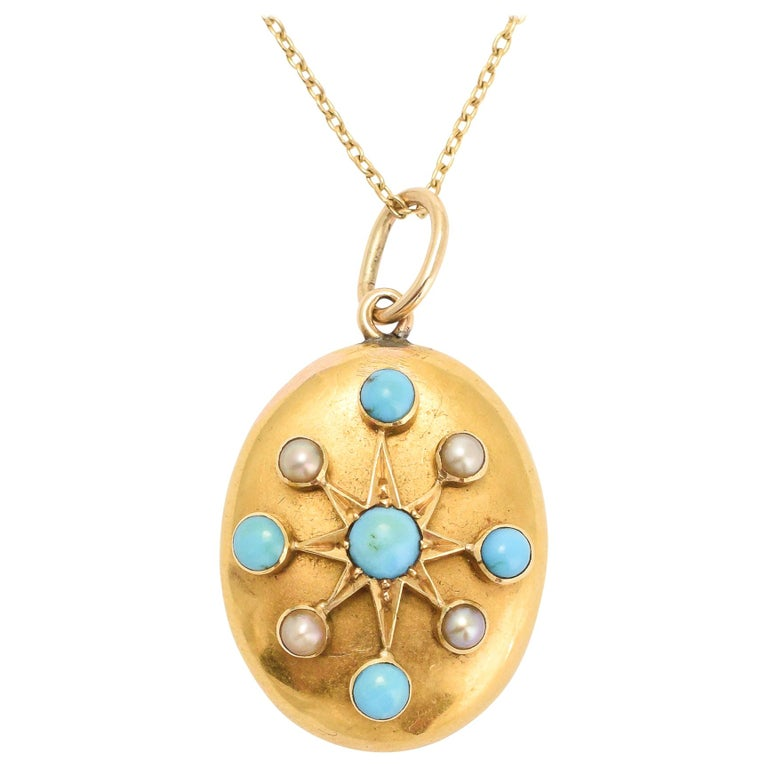 Antique Victorian Turquoise Pearl Gold Star Pendant For Sale