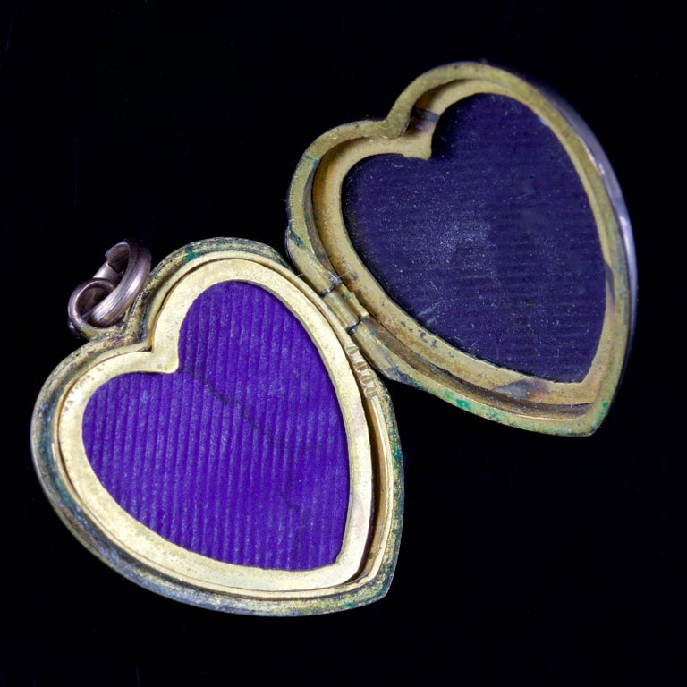 Women's Antique Victorian Turquoise Pearl Heart Locket Gold, circa 1900 For Sale
