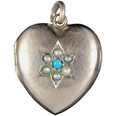 Antique Victorian Turquoise Pearl Heart Locket Gold, circa 1900