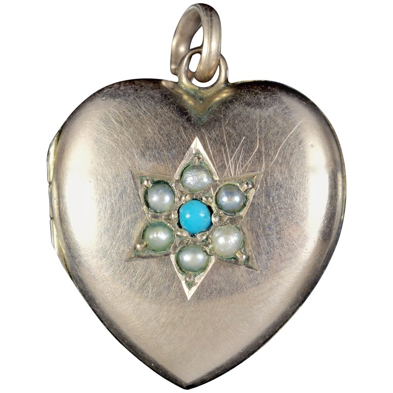 Antique Victorian Turquoise Pearl Heart Locket Gold, circa 1900 For Sale