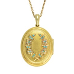 Antique Victorian Turquoise Seed Pearl Laurel Gold Locket Necklace