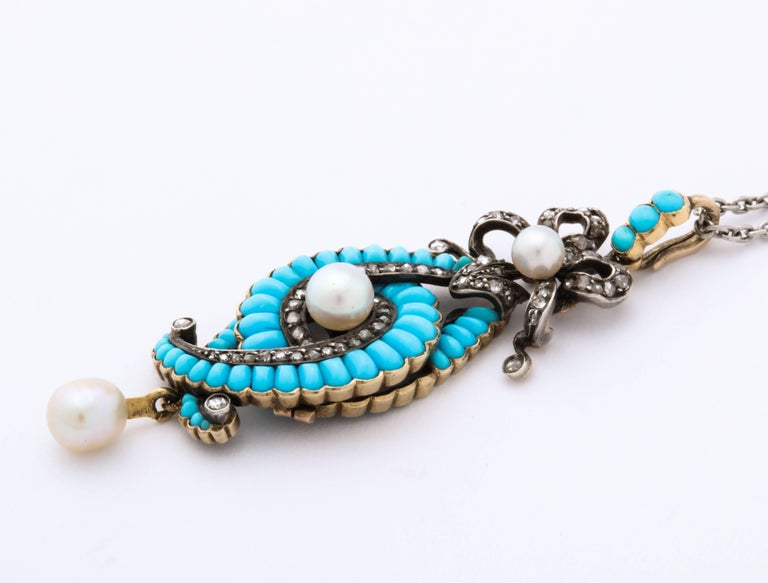 Women's Antique Victorian Turquoise, Diamond, Natural Pearl Necklace For Sale