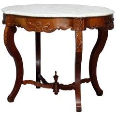 Antique Victorian Turtle Top Marble Top Mahogany & Walnut Lamp Table, Circa 1860