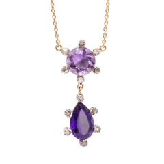 Antique Victorian Twin Amethyst Diamond Pendant Necklace