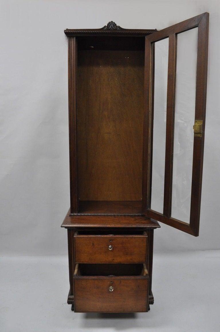 Awe Inspiring Antique Victorian Two Piece Walnut Tall Curio Gun Rifle Cabinet Hutch Display Download Free Architecture Designs Scobabritishbridgeorg