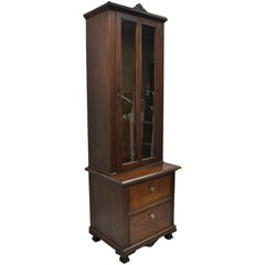 Antique Victorian Two-Piece Walnut Tall Curio Gun Rifle Cabinet Hutch Display