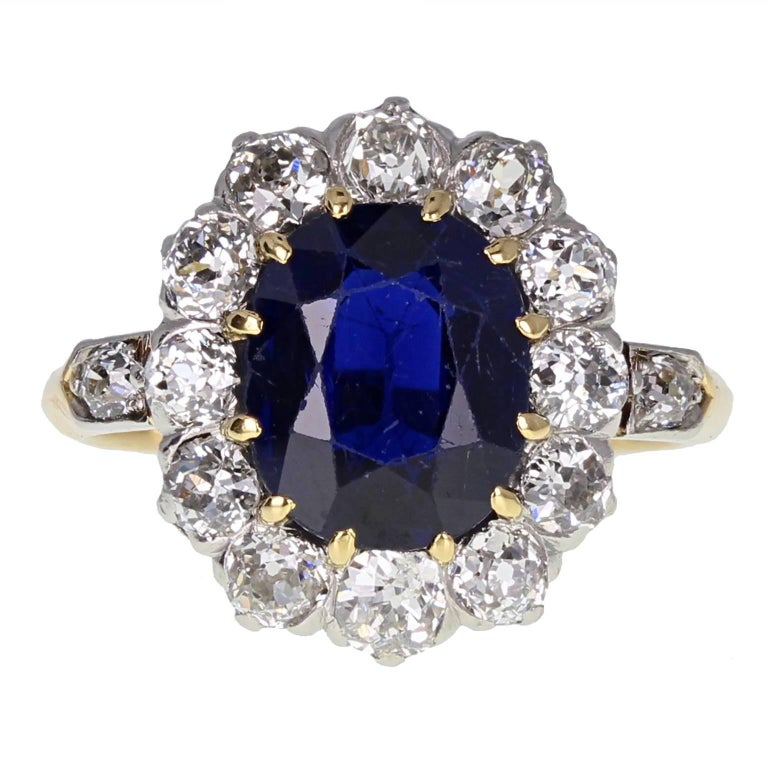 Antique Victorian Unheated Sapphire Old Cut Diamond Cluster Ring
