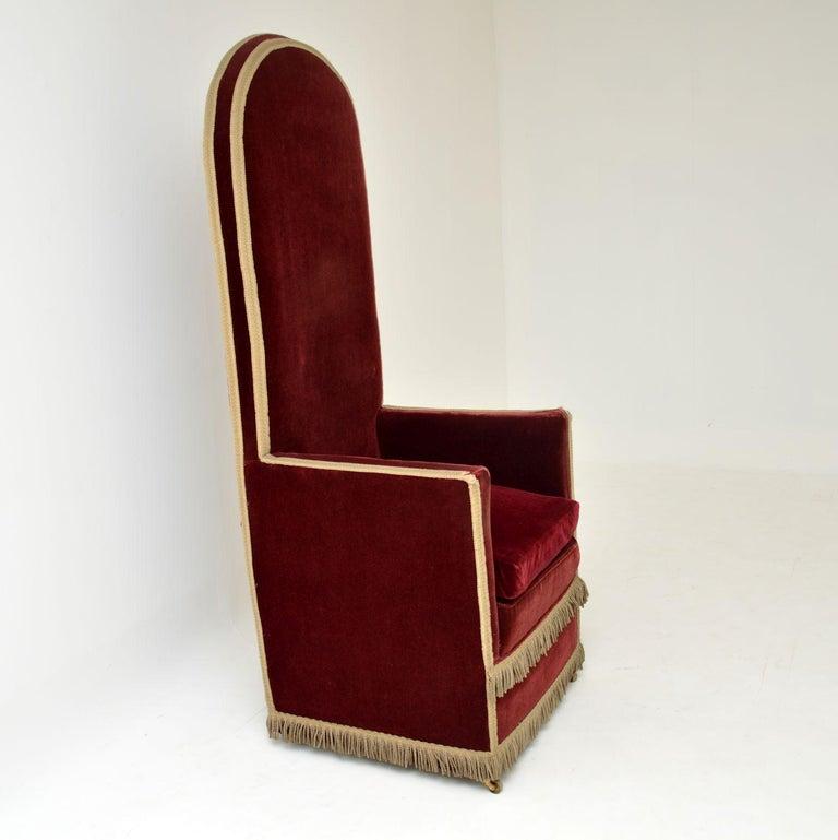 Antique Victorian Velvet Porters Chair / Armchair 5